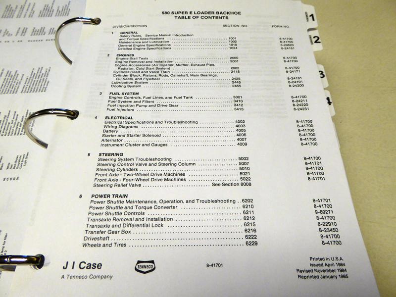 Case Service Manuals - CASE 580 Super E Loader Backhoe