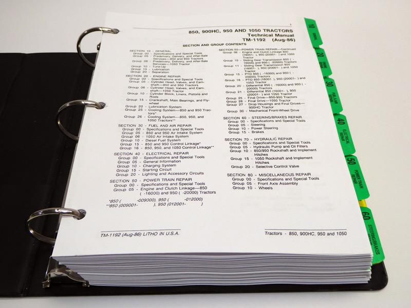 John Deere Service Manuals - John Deere 850, 900HC, 950,1050 Tractor